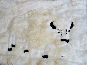 Alpaca Fur Buffalo Tapestry Bed Throw Wall Hanging 6' diag. Hand Made Peru