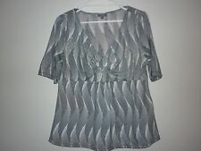 Katie's Ladies Top in a Black White and Gold Abstract Pattern Size 2XL