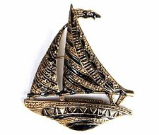 Sailboat Brooch Gold Plated Black Enamel Pin Mothers Day Gifts