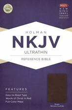 NKJV Ultrathin Reference Bible, Brown Genuine Cowhide (2014, Leather)
