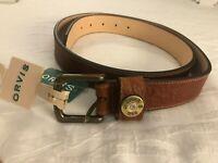ORVIS Ultimate Shotshell Leather Men's Belt BROWN w/ Gold Buckle   Size 38   $89
