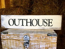 "Large Rustic Wood Sign - ""Outhouse""  - Outdoors, Cabin, Bathroom Farmhouse"