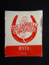 ANN ZAMBELLI & DAUGHTER BYO RESTAURANT 5 HORNE ST ELSTERNWICK 5238365 MATCHBOOK