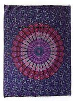Indian Tapestry Wall Hanging Peacock Mandala Large Hippie Bohemian Decor Throw