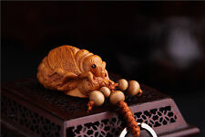 Wood 3D Carving Chinese Wealth Cicada Statue Sculpture Pendant Key Chain