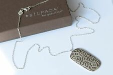 Silpada NEW Basilica Etched Scroll Sterling Silver Pendant Chain Necklace N3113