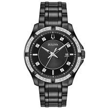 Bulova Men's Dress Quartz Diamond Accent Black Dial Bracelet 42mm Watch 98E116