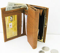 Tan Brown Lady French Wallet Clasp GENUINE LEATHER Money Coin Clasp Purse Nice