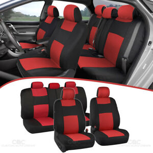 Car Seat Covers for Auto Red Black 5 Head Rest Split Bench Safe