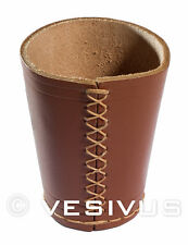 DICE CUP - Genuine LEATHER - BROWN / TAN - Hand-Made Hand-Stitched - Game RPG