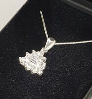 """Sterling Silver 925 Pendant New Triangle Diamante Crystal on 18"""" Curb Chain UK"""