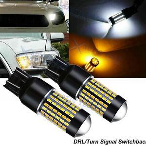 2x 7443 7440 7444 LED Turn Signal Switchback 3000K/6000K DRL Parking Light Bulbs
