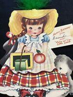 3674🌟Vintage DOLL CARD Forgetmenot '51 MARY HAD LITTLE-LAMB Kid's Birthday Card