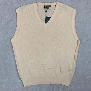 NEW Bobby Jones Men's XXL Sweater Vest Knit Cotton Butter Yellow V-Neck