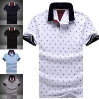 New Polo Shirt Men Printed Cotton Short Sleeve Casual Stand Collar Polo Shirts