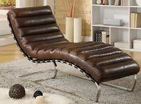 Chaise Echtleder Vintage Leder Relaxliege Braun Recamiere Chaiselongue  NEU 436
