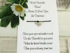 Dinosaur Wish Bracelet Friendship Gift Card Tibetan Charm Anklet Family Birthday