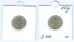 Weimarer Republik  50 Reichspfennig 1932 E  stempelglanz
