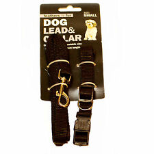 Dog lead and collar set black Medium adjustable 25cm to 43cm WIGIG
