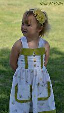 White Green Collar Sun Dress Beach Pockets Size 6 Handmade