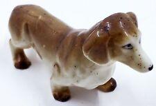 "Vintage Dachshund Dog Figurine Japan Brown & White Porcelain 3.5"""