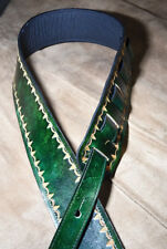 Leather guitar strap custom hand made distressed Emrald green 3""