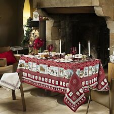 "BEAUVILLE, A LA NEIGE (IN THE SNOW) RED WINTER FRENCH TABLECLOTH, 67"" x 94"", NEW"
