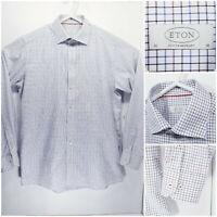 ETON Contemporary Mens 16 41 Long Sleeve Button Up White Check