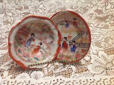 "Japan Rice Bowl & Saucer, 5"" hand painted raised paint"