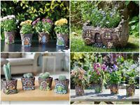 Novelty Pixie Pots Planter Garden Ornament Indoor Outdoor Fairy Elves Magical