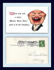 """COMIC WHEN YOU END A LETTER """"PLEASE BURN THIS"""" 1910 TO FRANK MILLER BELMORE OHIO"""