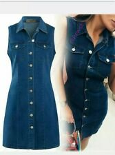 Womens Denim Dress Stretch Sleeveless Shirt Dresses Size 16 brand new