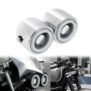 Universal Chrome Dual Twin Headlight Lamp Motorcycle Lights Fit For Harley Honda