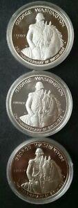 Lot of Three 1982 S Proof 50c Washington Commemorative Silver Half Dollars