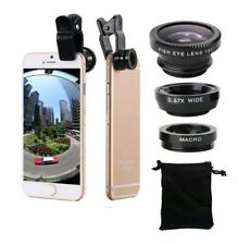 3-In-1 Fish Eye+Wide Angle+Macro Camera Kit Lens For iPhone Samsung Black [B31]