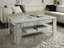 Table basse Rivière de salon shabby vintage usé canyon blanc pin en bois