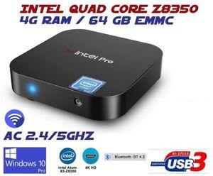 Intel Quad Core Z8350 4G 64GB AC WIFI Windows 10 NUC Mini PC Bluetooth W8 Pro 4K