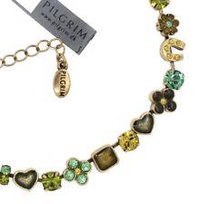 PILGRIM Vintage Gold Necklace HORSESHOE HEART FLOWER Green Swarovski Enamel BNWT