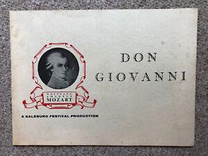 Don Giovanni Salzburg Opera Programme 1955 Lisa Della Casa, Wilhelm Furtwangler