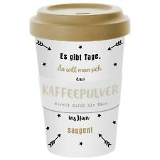 Coffee to go Becher Kaffeebecher aus Bambusfasern 400ml Kaffeepulver weiß gold