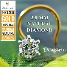 3.0mm Natural VVS Diamond Solitaire Nose Stud Piercing Ring Pin Jewelry 14k Gold