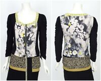 Womens Eva & Claudi Top Shirt Full Zip Floral Blouse 3/4 Sleeve Size M
