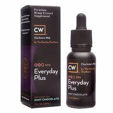 Charlotte's Web CW Everyday Plus Hemp Extract Oil 500 mg Chocolate Mint MCT 1oz