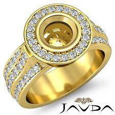 Round Semi Mount 18k Yellow Gold 1.65Ct Halo Bezel Set Diamond Engagement Ring