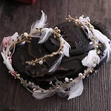 Feather Pearl Crystal Wedding Headpiece Tiara Gold Vintage Bridal Hair Jewelry