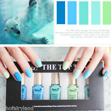 5Pcs/set 6ml Mini Green Blue Series Nail Art Polish Eco-friendly Varnish DIY