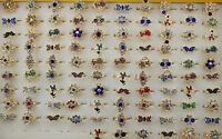 Wholesale jewelry Lots 100pcs colorful rhinestone adjustable charm lady's rings