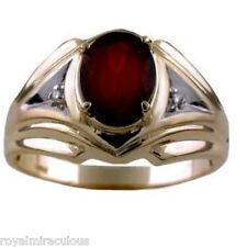Mens Gold Ring Diamond Garnet  14K Yellow  Gold