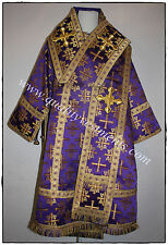 Orthodox Bishop vestments Metallic brocade Purple Gold  HANDMADE CROSSES