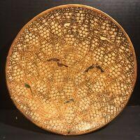 "Large Vintage Kashmir India Lacquer Ware Platter Hand Painted Birds Flowers 16"""